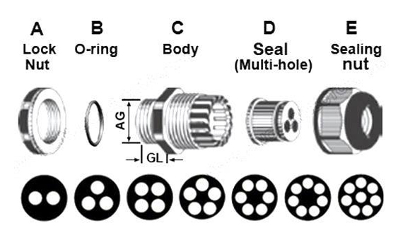 cable gland for multiple cables