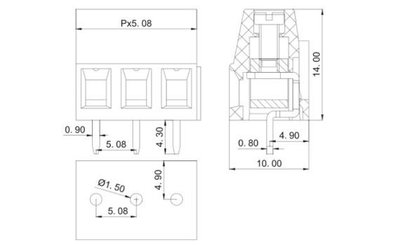 pcb mount screw terminal